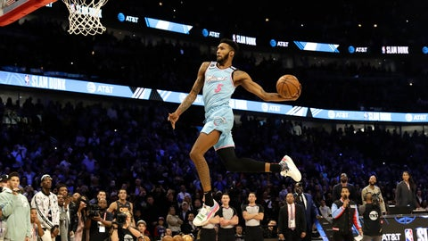 <p>               Miami Heat's Derrick Jones Jr. heads to the basket during the NBA All-Star slam dunk contest in Chicago, Saturday, Feb. 15, 2020. (AP Photo/Nam Y. Huh)             </p>