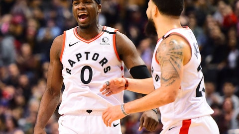 <p>               Toronto Raptors guard Terence Davis (0) and teammate Fred VanVleet (23) celebrate a basket during second-half NBA basketball game action against the Chicago Bulls in Toronto, Sunday, Feb. 2, 2020. (Frank Gunn/The Canadian Press via AP)             </p>