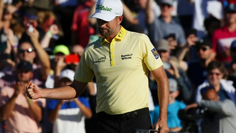 <p>               Webb Simpson pumps his fist after sinking the winning putt on the first playoff hole during the final round of the Waste Management Phoenix Open PGA Tour golf event Sunday, Feb. 2, 2020, in Scottsdale, Ariz. (AP Photo/Ross D. Franklin)             </p>