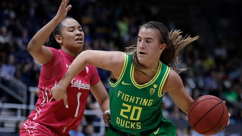 <p>               Oregon's Sabrina Ionescu, right, drives as California's Leilani McIntosh (1) defends during the second half of an NCAA college basketball game Friday, Feb. 21, 2020, in Berkeley, Calif. (AP Photo/Ben Margot)             </p>