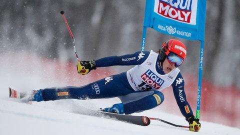 <p>               Italy's Federica Brignone competes in an alpine ski, women's World Cup super G, in Rosa Khutor, Russia, Sunday, Feb. 2, 2020. (AP Photo/Gabriele Facciotti)             </p>