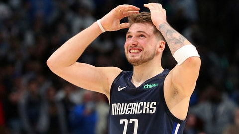 <p>               Dallas Mavericks forward Luka Doncic (77) reacts to a missed 3-point attempt by Tim Hardaway Jr. (11) that would have tied the game near the end of an NBA basketball game against the Los Angeles Clippers Tuesday, Jan. 21, 2020 in Dallas. (AP Photo/Richard W. Rodriguez)             </p>