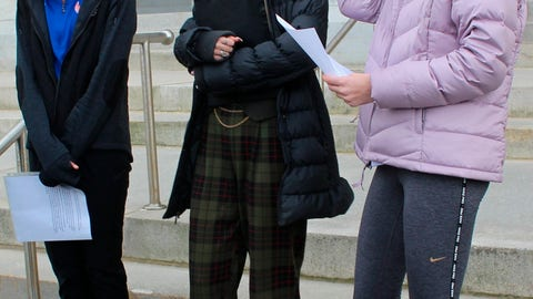 <p>               High school track athletes Alanna Smith, left, Selina Soule, center and and Chelsea Mitchell prepare to speak at a news conference outside the Connecticut State Capitol in Hartford, Conn. Wednesday, Feb. 12, 2020. The three girls have filed a federal lawsuit to block a state policy that allows transgender athletes to compete in girls sports. (AP Photo/Pat Eaton-Robb)             </p>