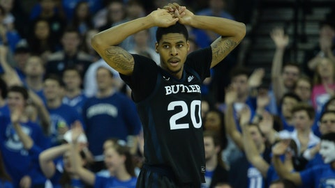Feb 23, 2020; Omaha, Nebraska, USA; Butler Bulldogs guard Henry Baddley (20) reacts to a call in the game against the Creighton Bluejays in the second half at CHI Health Center Omaha. Mandatory Credit: Steven Branscombe-USA TODAY Sports