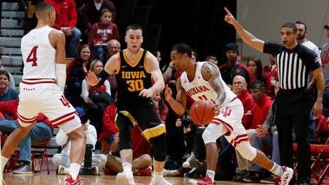 Feb 13, 2020; Bloomington, Indiana, USA; Indiana Hoosiers guard Devonte Green (11) drives to the basket against Iowa Hawkeyes guard Connor McCaffrey (30) during the second half at Simon Skjodt Assembly Hall. Mandatory Credit: Brian Spurlock-USA TODAY Sports