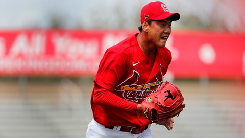 St. Louis Cardinals pitcher Kwang-Hyun Kim runs to cover first base during the first inning of a spring training baseball game against the Miami Marlins Wednesday, Feb. 26, 2020, in Jupiter, Fla. (AP Photo/Jeff Roberson)
