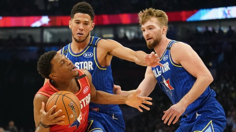 Feb 16, 2020; Chicago, Illinois, USA; Team Giannis guard Kyle Lowry of the Toronto Raptors drives against Team LeBron forward Domantas Sabonis of the Indiana Pacers and Devin Booker of the Phoenix Suns during the third quarter of the 2020 NBA All Star Game at United Center. Mandatory Credit: Kyle Terada-USA TODAY Sports