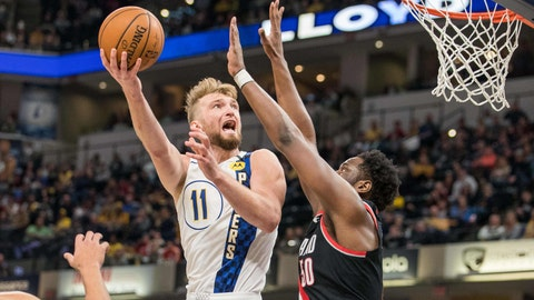 Feb 27, 2020; Indianapolis, Indiana, USA; Indiana Pacers forward Domantas Sabonis (11) shoots the ball while Portland Trail Blazers forward Caleb Swanigan (50) defends in the second half at Bankers Life Fieldhouse. Mandatory Credit: Trevor Ruszkowski-USA TODAY Sports