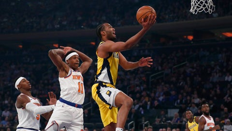 Feb 21, 2020; New York, New York, USA;  Indiana Pacers forward T.J. Warren (1) drives to the basket against New York Knicks guard Frank Ntilikina (11) during the first half at Madison Square Garden. Mandatory Credit: Noah K. Murray-USA TODAY Sports