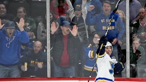 St. Louis Blues' Jordan Kyrou (33) celebrates scoring a goal against the Minnesota Wild during the first period of an NHL hockey game Sunday, Feb. 23, 2020, in St. Paul, Minn. (AP Photo/Hannah Foslien)