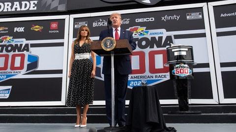 US President Donald Trump and First Lady Melania Trump the Daytona 500 Nascar race at Daytona International Speedway in Daytona Beach, Florida, February 16, 2020. (Photo by SAUL LOEB / AFP) (Photo by SAUL LOEB/AFP via Getty Images)