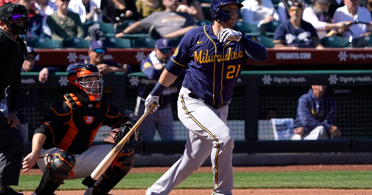 Hader strikes out side in spring debut, Brewers rally to tie Giants 3-3