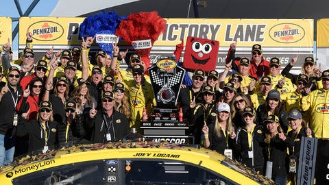 LAS VEGAS, NV - FEBRUARY 23: Joey Logano (22) Team Penske Ford Mustang celebrates with his team in Victory Lane after winning the NASCAR Cup Series Pennzoil 400 presented by Jiffy Lube on February 23, 2020, at Las Vegas Motor Speedway in Las Vegas, NV. (Photo by David Allio/Icon Sportswire via Getty Images)