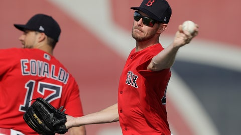 <p>               Boston Red Sox starting pitcher Chris Sale throws during spring training baseball camp Wednesday, Feb. 19, 2020, in Sarasota, Fla. (AP Photo/John Bazemore)             </p>
