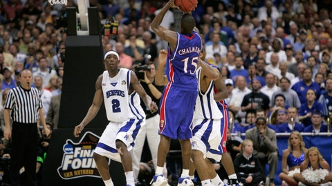 <p>               FILE - In this Monday, April 7, 2008, file photo, Kansas' Mario Chalmers shoots a three pointer to take the game in to overtime against Memphis during the championship game at the NCAA college basketball Final Four in San Antonio. Kansas defeated Memphis 75-68 in overtime. (AP Photo/Mark Humphrey, File)             </p>