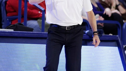 <p>               Loyola Marymount coach Mike Dunlap shouts to his players during the second half of an NCAA college basketball game against Gonzaga in Spokane, Wash., Thursday, Feb. 6, 2020. Gonzaga won 85-67. (AP Photo/Young Kwak)             </p>