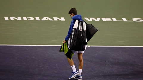 <p>               FILE - In this Monday, March 11, 2019, file photo, Novak Djokovic, of Serbia, walks off the court during a rain break in his match against Philipp Kohlschreiber, of Germany, at the BNP Paribas Open tennis tournament in Indian Wells, Calif. The BNP Paribas Open tennis tournament, set to begin Wednesday, March 11, 2020, has been postponed after a case of coronavirus was confirmed in the Coachella Valley. (AP Photo/Mark J. Terrill, File)             </p>