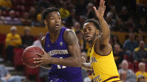 <p>               Washington's Nahziah Carter (11) is defended by Arizona State's Kimani Lawrence (4) during the first half of an NCAA college basketball game Thursday, March 5, 2020, in Tempe, Ariz. (AP Photo/Darryl Webb)             </p>