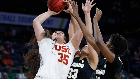 <p>               Southern California's Alissa Pili (35) shoots over Colorado's Peanut Tuitele (33) and Mya Hollingshed (21) during the second half of an NCAA college basketball game in the first round of the Pac-12 women's tournament Thursday, March 5, 2020, in Las Vegas. (AP Photo/John Locher)             </p>