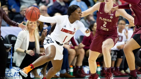 <p>               Louisville's Dana Evans (1) handles the ball as Florida State's Sammie Puisis (2) defends during an NCAA college basketball game at the Atlantic Coast Conference women's tournament in Greensboro, N.C., Saturday, March 7, 2020. (AP Photo/Ben McKeown)             </p>