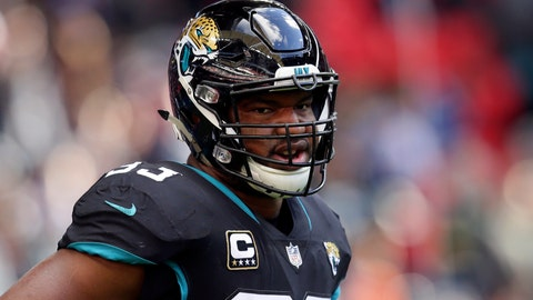 <p>               FILE - In this Oct. 28, 2018, file photo,  Oct. 28, 2018. Jacksonville Jaguars defensive end Calais Campbell (93) during the warm-up before an NFL football game against Philadelphia Eagles at Wembley stadium in London. Armed with a new contract after being traded from Jacksonville to Baltimore, five-time Pro Bowl defensive end hopes to be a difference-maker in the Ravens' bid to reach the Super Bowl. (AP Photo/Tim Ireland, File)             </p>