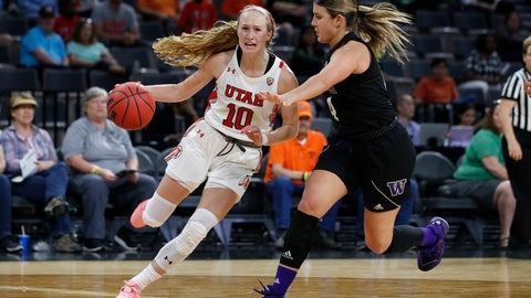 <p>               Utah's Dru Gylten (10) drives around Washington's Amber Melgoza during the second half of an NCAA college basketball game in the first round of the Pac-12 women's tournament Thursday, March 5, 2020, in Las Vegas. (AP Photo/John Locher)             </p>