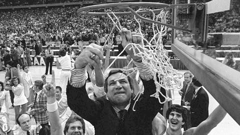 <p>               FILE - In this March 29, 1982, file photo, North Carolina basketball coach Dean Smith cuts the net as happy players and fans cheer after the Tar Heels defeated Georgetown for the NCAA  college basketball Final Four championship, in New Orleans. The NCAA championship was the only thing missing from Smith's trophy case in an otherwise brilliant career that includes one of the best records in coaching — 468-145 over 21 years in Chapel Hill — an Olympic gold medal and acknowledgment by peers of his basketball greatness. (AP Photo/Pete Leabo, File)             </p>