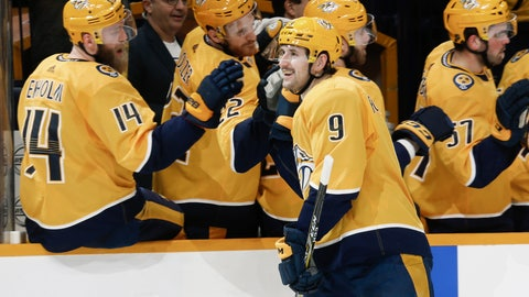 <p>               Nashville Predators left wing Filip Forsberg (9), of Sweden, is congratulated after scoring against the Dallas Stars in the first period of an NHL hockey game Thursday, March 5, 2020, in Nashville, Tenn. (AP Photo/Mark Humphrey)             </p>