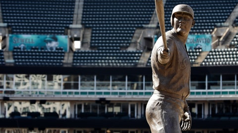 <p>               A statue of former Cleveland Indians Jim Thome stands in an empty Progressive Field, March 26, 2020, in Cleveland. The Cleveland Indians were scheduled to play the Detroit Tigers in an Opening Day baseball game Thursday but the season has been postponed due to the coronavirus. (AP Photo/Tony Dejak)             </p>
