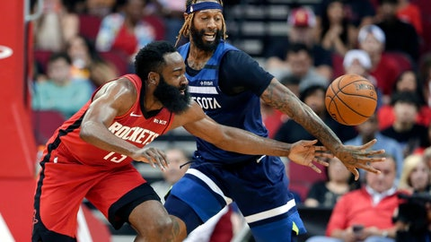 <p>               Houston Rockets guard James Harden, left, has the ball knocked away by Minnesota Timberwolves forward James Johnson during the first half of an NBA basketball game Tuesday, March 10, 2020, in Houston. (AP Photo/Michael Wyke)             </p>