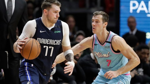 <p>               Dallas Mavericks guard Luka Doncic (77) drives to the basket past Miami Heat guard Goran Dragic (7) during the second half of an NBA basketball game, Friday, Feb. 28, 2020, in Miami. (AP Photo/Wilfredo Lee)             </p>