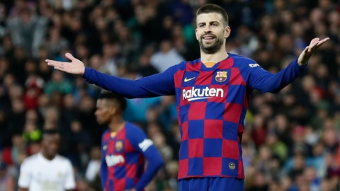 <p>               Barcelona's Gerard Pique reacts during the Spanish La Liga soccer match between Real Madrid and Barcelona at the Santiago Bernabeu stadium in Madrid, Spain, Sunday, March 1, 2020. (AP Photo/Manu Fernandez)             </p>