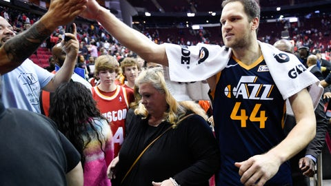 <p>               Utah Jazz forward Bojan Bogdanovic (44) high-fives a fan after shooting the game-winning three point basket during the second half of an NBA basketball game against the Houston Rockets, Sunday, Feb. 9, 2020, in Houston. (AP Photo/Eric Christian Smith)             </p>
