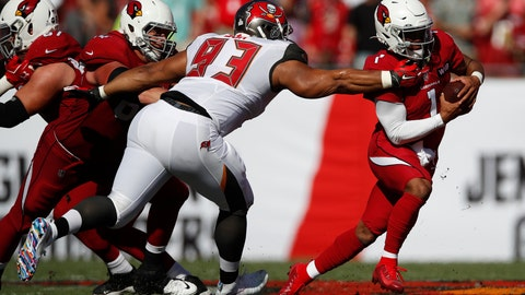 <p>               FILE - In this Nov. 10, 2019, file photo, Tampa Bay Buccaneers nose tackle Ndamukong Suh (93) brings down Arizona Cardinals quarterback Kyler Murray (1) during an NFL football game in Tampa, Fla. The Buccaneers announced Thursday, March 26, 2020, that the team had re-signed defensive lineman Ndamukong Suh.(AP Photo/Jeff Haynes, File)             </p>