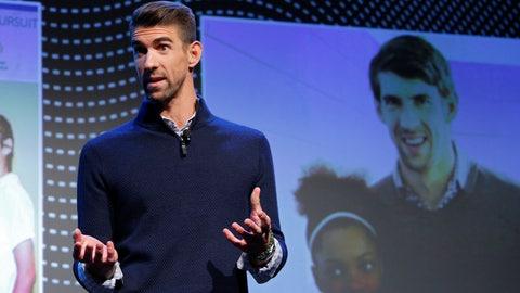 <p>               Michael Phelps speaks during a Panasonic news conference before the CES tech show, Monday, Jan. 6, 2020, in Las Vegas. (AP Photo/John Locher)             </p>