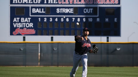<p>               Cleveland Indians starting pitcher Carlos Carrasco warms up during spring training baseball workouts for pitchers and catchers Thursday, Feb. 13, 2020, in Avondale, Ariz. (AP Photo/Ross D. Franklin)             </p>
