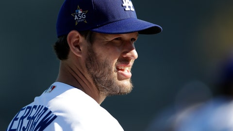 <p>               Los Angeles Dodgers pitcher Clayton Kershaw looks on during spring training baseball Wednesday, Feb. 19, 2020, in Phoenix. (AP Photo/Gregory Bull)             </p>