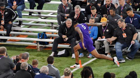<p>               Clemson football player Tee Higgins runs the 40-yard dash during NFL Pro Day Thursday, March 12, 2020, in Clemson, S.C. (AP Photo/Richard Shiro)             </p>