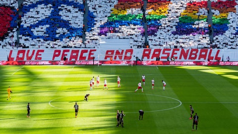 <p>               Leipzig supporters cheer their team during the German Bundesliga soccer match between RB Leipzig and Bayer Leverkusen 04 in Leipzig, Germany, Sunday, March 1, 2020. (Robert Michael/dpa via AP)             </p>