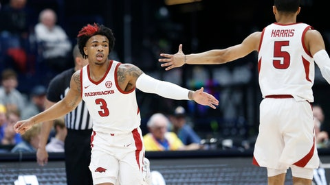 <p>               Arkansas guard Desi Sills (3) is congratulated by Jalen Harris (5) after Sills scored against Vanderbilt in the first half of an NCAA college basketball game in the Southeastern Conference Tournament Wednesday, March 11, 2020, in Nashville, Tenn. (AP Photo/Mark Humphrey)             </p>