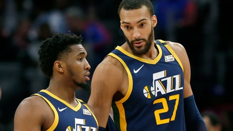 <p>               FILE - In this Saturday, March 7, 2020, file photo, Utah Jazz center Rudy Gobert (27) talks with guard Donovan Mitchell, left, during the second half of an NBA basketball game against the Detroit Pistons, in Detroit. Both players have tested positive for the coronavirus.  Gobert's test result forced the NBA to suspend the season. (AP Photo/Duane Burleson, File)             </p>