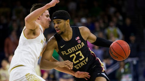 <p>               Florida State's M.J. Walker (23) drives as Notre Dame's Nate Laszewski defends during the first half of an NCAA college basketball game Wednesday, March 4, 2020, in South Bend, Ind. (AP Photo/Robert Franklin)             </p>