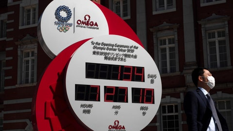 <p>               A man with a mask walks past a countdown clock for the Tokyo 2020 Olympics Thursday, March 12, 2020, in Tokyo. The Tokyo Olympics are being threatened by the spreading coronavirus. Organizers and the International Olympic Committee have repeatedly said the games will open on July 24 as planned, with the Paralympics opening on Aug. 25. For most people, the new coronavirus causes only mild or moderate symptoms. For some it can cause more severe illness. (AP Photo/Jae C. Hong)             </p>