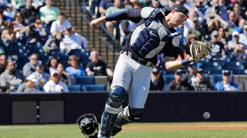 <p>               Detroit Tigers catcher Grayson Greiner loses control of a foul tip by New York Yankees' Gary Sanchez during the second inning of a spring training baseball game Saturday, Feb. 29, 2020, in Tampa, Fla.. (AP Photo/Frank Franklin II)             </p>