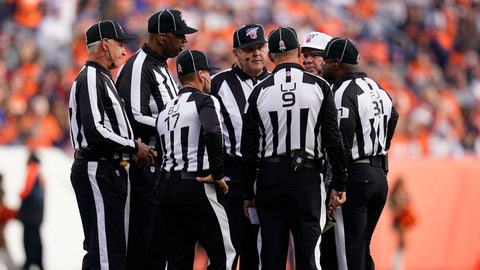 "<p>               In this Nov. 3, 2019, file photo, officials discuss a call during the first half of an NFL football game between the Cleveland Browns and the Denver Broncos in Denver. Two teams have suggested changes to game officiating, including a ""sky judge"" utilized by colleges, among seven rules proposals that will be presented to team owners later this month. (AP Photo/Jack Dempsey, File)             </p>"