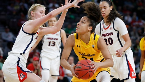 <p>               FILE - In this Friday, March 6, 2020, file photo, California's Evelien Lutje Schipholt (24) shoots against Arizona's Cate Reese, left, during the first half of an NCAA college basketball game in the quarterfinal round of the Pac-12 women's tournament in Las Vegas. The coronavirus pandemic has created problems greater than the inability to compete for the more than 20,000 foreign college athletes in the United States. Many are struggling with a decision about whether to stay in this country or return home. Schipholt, from The Netherlands, is staying with teammate Cailyn Crocker and her family in Southern California. (AP Photo/John Locher, File)             </p>