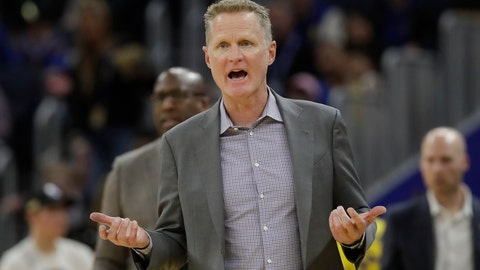 <p>               Golden State Warriors head coach Steve Kerr reacts toward officials during the second half of his team's NBA basketball game against the Washington Wizards in San Francisco, Sunday, March 1, 2020. (AP Photo/Jeff Chiu)             </p>