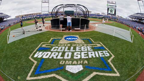 <p>               FILE - In this June 14, 2019, file photo, the College World Series logo is partially painted at TD Ameritrade Park in Omaha, Neb., as Vanderbilt players practice ahead of their College World Series game against Louisville. The NCAA's decision to canceled winter and spring sports championships means the College World Series will not be held for the first time in its 73-year history. (AP Photo/Nati Harnik, File)             </p>
