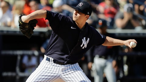 <p>               New York Yankees' Zack Britton delivers a pitch during the sixth inning of a spring training baseball game against the Detroit Tigers Saturday, Feb. 29, 2020, in Tampa, Fla. (AP Photo/Frank Franklin II)             </p>