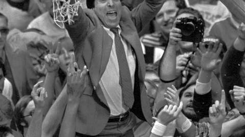 <p>               FILE - In this April 4, 1983 file photo, North Carolina State coach Jim Valvano holds the net aloft after his team defeated Houston 54-52 for the national championship at the Final Four NCAA college basketball tournament in Albuquerque, N.M. (AP Photo/Leonard Ignelzi, File)             </p>